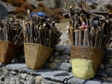Tetušky nesú drevo na kúrenie do Manangu...