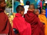 Mnísi pri chráme v Kyaikto...