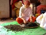 Mníška v chráme preberá čaj ktorý si dopestovali...