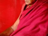 Starý mních v chráme Swayabunath...